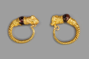 TWO GREEK GOLD EARRINGS