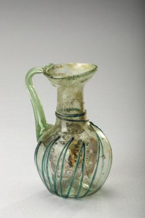 SMALL ROMAN GREEN GLASS FLASK