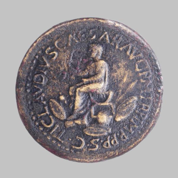 NERO CLAUDIUS DRUSUS, 38-9 BC, AE SESTERTIUS, ROME STRUCK BY CLAUDIUS, 41-42 AD