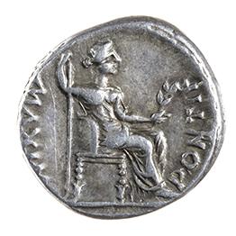 TIBERIUS (14-37 AD), DENARIUS, LUGDUNUM, AFTER 16 AD REV