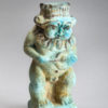 BRIGHT BLUE FAIENCE FIGURE OF BES