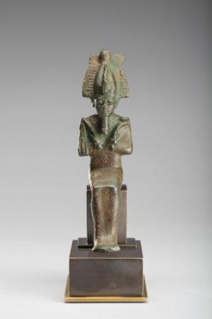 Bronze Seated Osiris|Bronze Seated Osiris rev