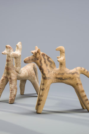 COLLECTION OF THREE BOEOTIAN HORSERIDERS AND A HORSE