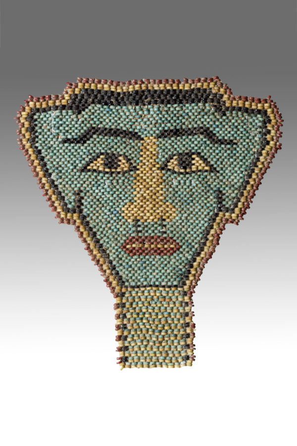 MULTICOLOURED FAIENCE MUMMY FACE MASK
