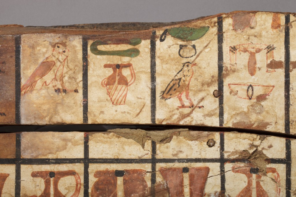 Polychrome Wood Sarcophagus Fragment detail