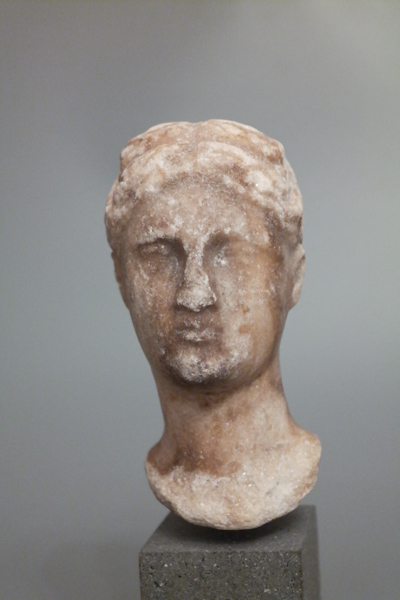 small marble head of woman