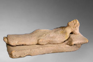 87. BOEOTIAN TERRACOTTA FIGURE ON BED