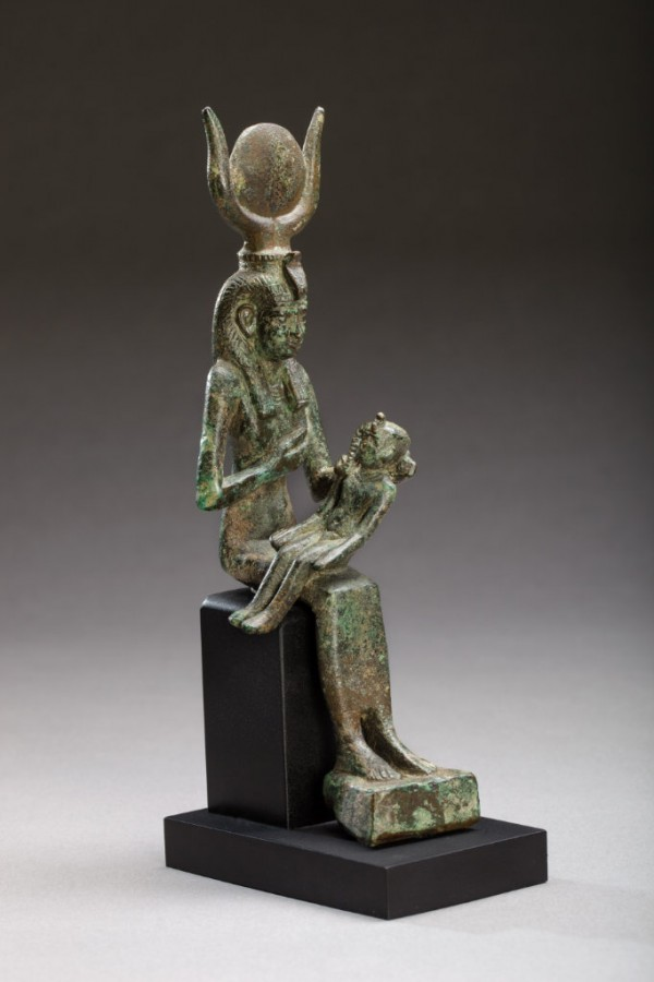 bronze figure of seated isis suckling horus