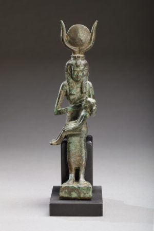 bronze figure of seated isis suckling horus front