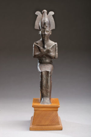 bronze seated figure of osiris front