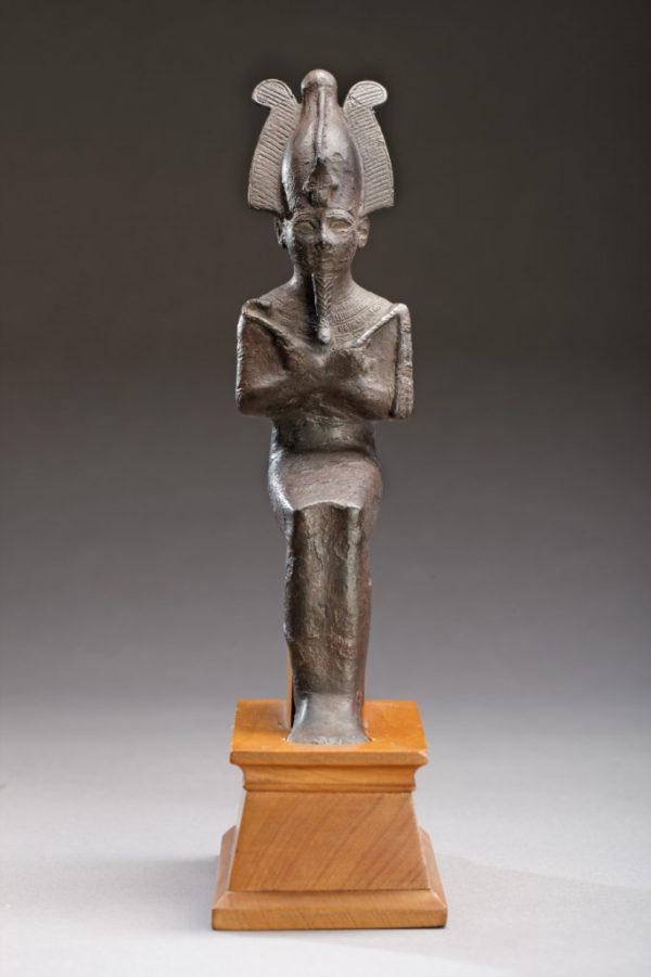 bronze seated figure of osiris front|