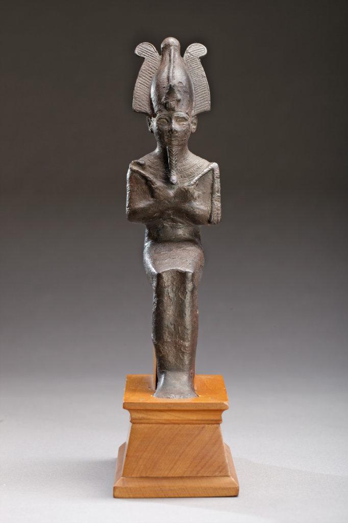 bronze seated figure of osiris front