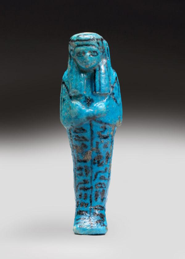 Egyptian blue faience ushabti of nesy-per-nub