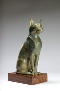 Egyptian large bronze seated cat