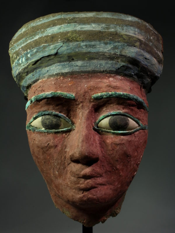 Egyptian large polychrome wooden sarcophagus mask