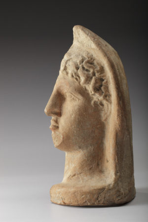 etruscan terracotta votive half-head|etruscan terracotta votive half-head