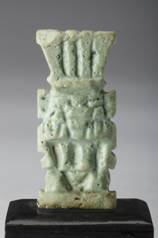 Egyptian green faience bes amulet