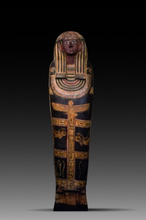 polychrome wood sarcophagus lid