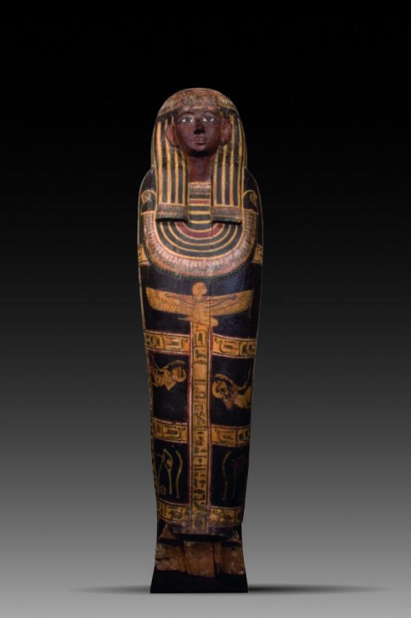 polychrome wood sarcophagus lid