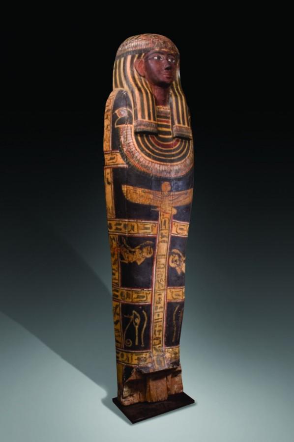 polychrome wood sarcophagus lid left side