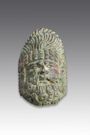 roman bronze theatre mask applique