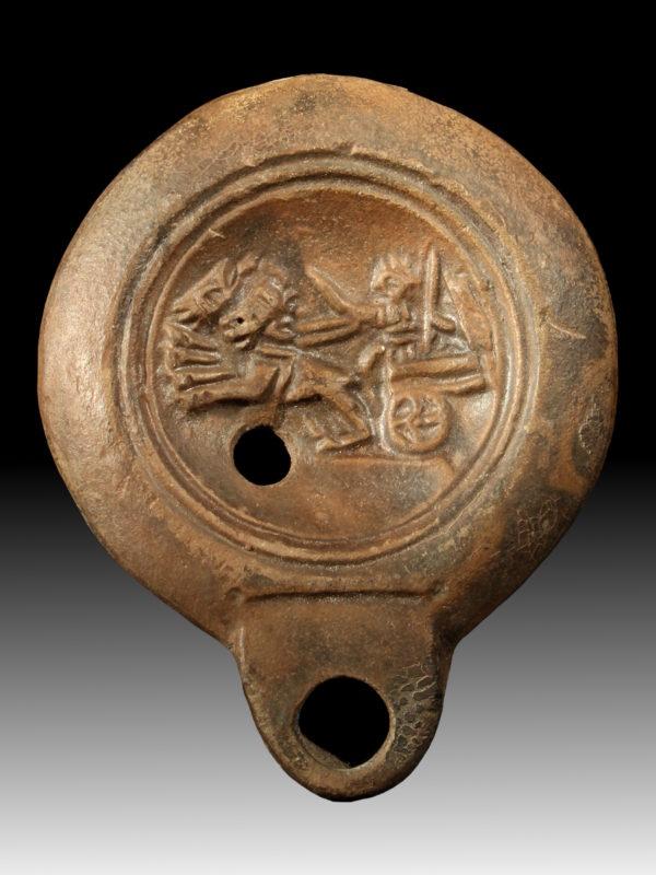 roman terracotta oillamp with biga