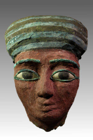 Egyptian wood sarcophagus mask